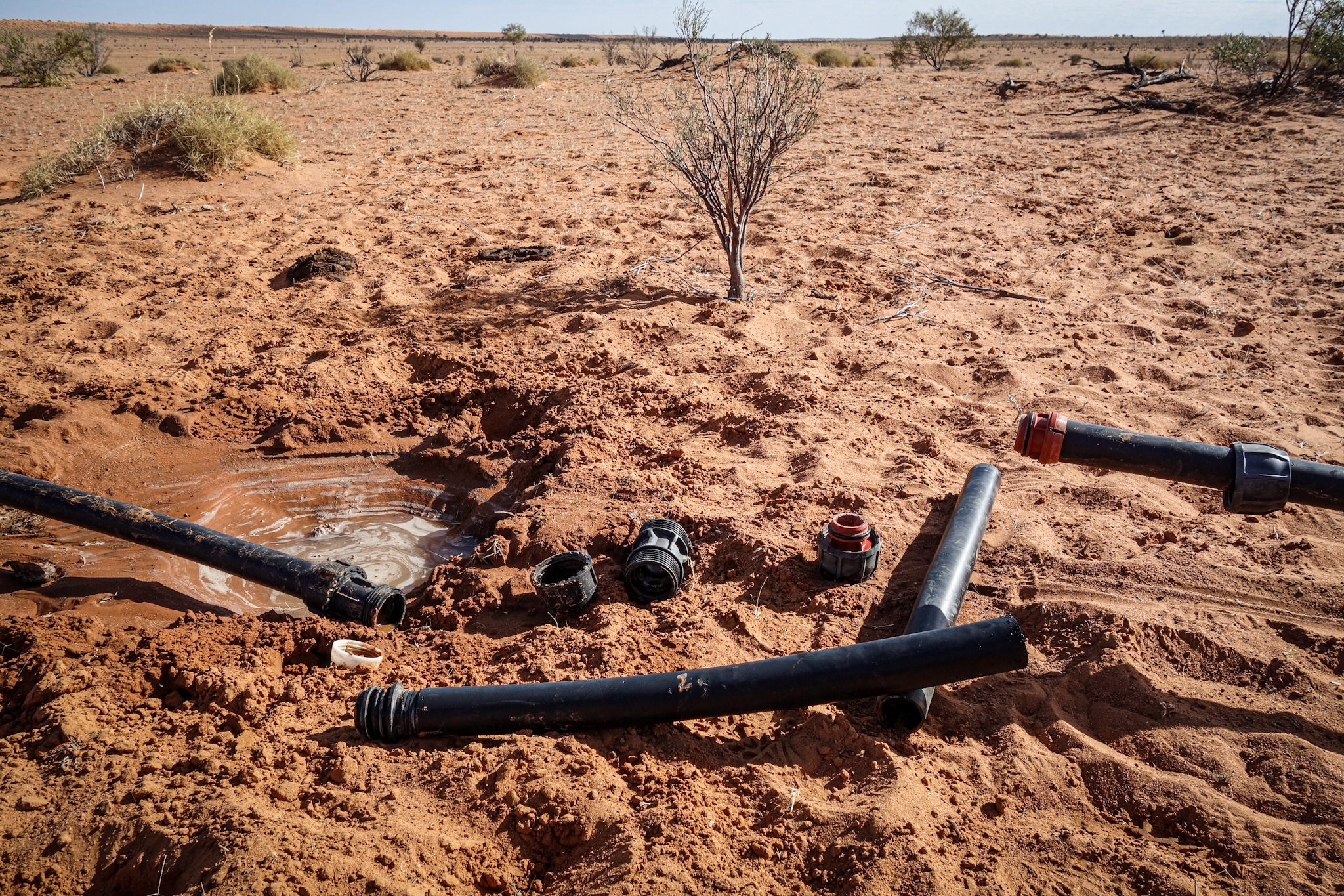 Broken waterpipe in the desert …